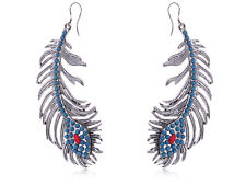 Fashion Peacock Feather Drop Brushed Finish Earrings With Turquoise Chic Stones