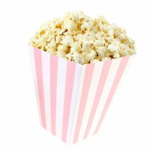"""Boîtes à Pop-corn - Lot de 12 boites - Décor Rayures Rose """" popcorn / pop corn """""""
