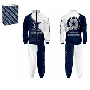 2021 Dallas Cowboys Zipper Long Sleeve Hoodie Trousers Suit 2PCS With Gift Bag