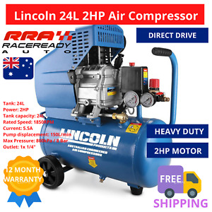 Lincoln Air Compressor L224  2HP 24L Direct Drive Pressure Regulator Pump Tank