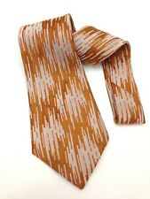 "True Vintage Mens Kipper Necktie 4.8"" Wide Neck Tie Abstract Copper Orange White"