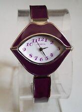 Designer inspired Lip style silver/purple elegant fashion bangle women's watch