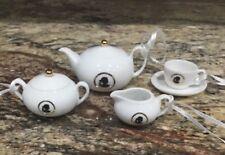 Wedgwood Nib Set Of 4 Cameo White Teaset Ornaments Unused