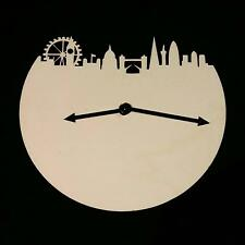 UK London Skyline Wooden 20cm Clock Time Watch Birthday Handmade Wall Clock
