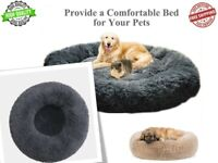 Pet Dog Cat Calming Bed Ultra Warm Soft Long Plush Round Sleeping Bed Soft Fluff