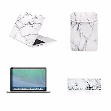 "4 IN 1White Marble Case for Macbook Pro 13"" w./ Retina + Keyboard Skin +LCD +Bag"