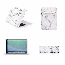 "4 IN 1White Marble Case for Macbook Pro 13"" w./ Retina + Keyboard Skin +LCD +Bag"