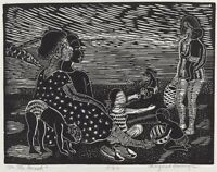 On the Beach : linocut : Margaret Burroughs : Archival Quality Art Print