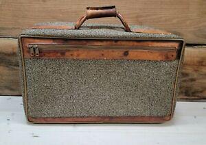 "Vintage Hartmann Luggage Tweed & Leather Handheld Suitcase 21""x13"" Travel Decor"