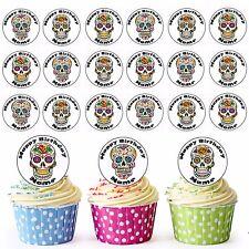 Calaveras de azúcar 24 Personalizado Precortada Comestible Cupcake Toppers Gótico Festival