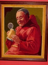 ANTIQUE / OLD VINTAGE Needlepoint Art Happy Drinking Monk in Red Robe With Stein