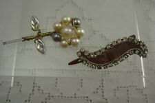 VINTAGE SET OF 2 GENUINE PEARL & RHINESTONE HAIR CLIP BOBBIE PIN