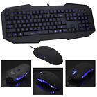 NEW Blue  Light USB Wired LED Illuminated Backlit Pro Gaming Keyboard Mouse set