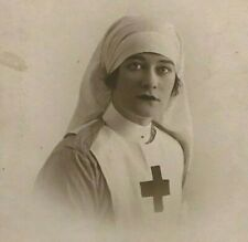 WW1 Era Portrait Photo Postcard Beautiful British Red Cross Nurse Signed