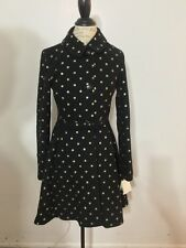 NWT Women's KATE SPADE NEW YORK  Gold Glitter Dot-Print Skirted Coat, XL, Black