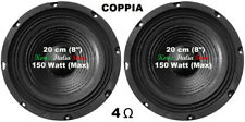 "Coppia Woofer Universali 20 Cm 8"" Pollici 4 Ohm 150 Watt Plug & Sound Mod. S-84"