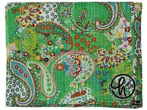 Cotton Paisley Design Bedspreads Coverlet  Green Kantha Quilts Blanket Bed cover