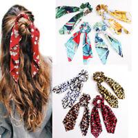 Floral Leopard Scrunchies Hair Scarf Elastic Boho Streamers Bow Hair Rope Ties #