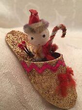 "Snowman Santa Slipper Shoe Christmas Chenille Ornament Vintage 3"" Figurine Japan"
