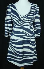 Boden Linen Tunic Dress Womens Size US 4 UK 8 Navy Blue & White Zebra Striped