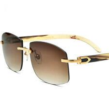 Luxury Natural Buffalo Horn Man Woman Eyeglasses Rimless Sunglasses Glasses