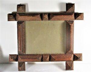 CA 1900-20 TRAMP ART CIGAR BOX LAYERED FRAME COMPLETE, ORIGINAL FINISH, FOLK ART