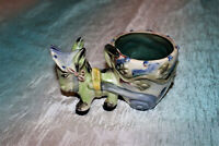 Vintage Donkey & Cart Planter Hand Painted Mexican Folk Anthropomorphic Perfect!
