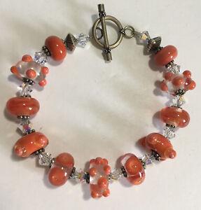 "Orange Lampworked Glass ""Bumpy"" Bead Bracelet Toggle Clasp 8.75"""