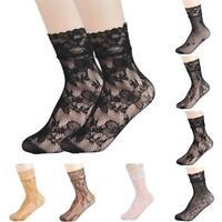 Women Soft Lace Ruffle Fishnet Mesh Black Ankle Socks Anklet Short Socks.AU
