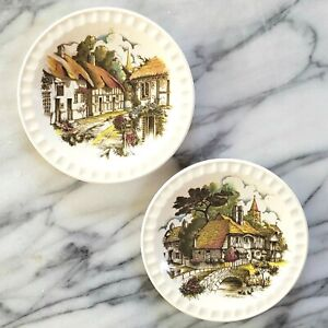 2 WEATHERBY HANLEY England ROYAL FALCON WARE Thatched Cottage Plates COTSWOLDS