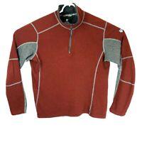 Kuhl Kashmira Mens Large Red 1/4 Zip Mock Neck Sweater Lined Fleece Pullover