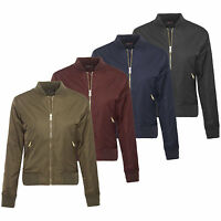 Ladies Womens MA1 Army Classic Padded Bomber Jacket Vintage Zip Up Biker Coat