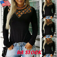 US Womens Rhinestone Hollow Out T-shirt Tops Ladies Crew Neck Long Sleeve Blouse