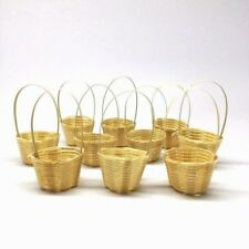 10 Miniature Woven Bamboo Baskets 25 mm. Dollhouse Vintage Handmade Crafts Decor