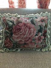 Pink Floral Aubusson 100% Wool Embroidery Handmade Needlepoint Pillow 16 x20""