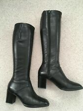 BALLY BLACK LEATHER VINTAGE KNEE BOOTS SIZE 4/5 original box 1970s block heel