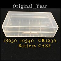 2 Clear Plastic Battery Storage Case Holder 2 Slot For 18650 16340 CR123A