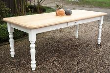 Esstisch Tisch Massivholz Landhaus Esszimmer 180 cm M03 weiss natur Neu