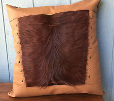 Leather pillow with Hair on cowhide fur inset large pillow with brass studs