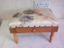 Vintage Small Footstool with Drawer & 4 Legs Top Floral Fabric Design