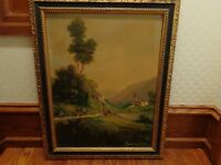 Vintage Original Oil Painting of a European Landscape, Signed Raymond