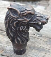 Vintage antique wolf head Handle only For cane Walking Stick amazing best item