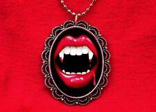 VAMPIRE FANGS BITE ME LIPS TEETH PENDANT NECKLACE GOTH