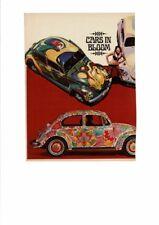 VINTAGE 1969 VOLKSWAGON BEETLE BUG FLOWER POWER HIPPIE WOODSTOCK BIKINI AD PRINT