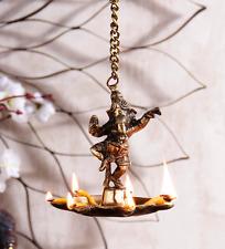 Ganesha Ganesh Hanging Oil Wick Lamp Diya Brass Statue Sculpture Ganapati Deity