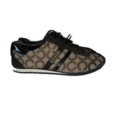 New listing Coach Womens Kathleen Q511 Brown Gold Tennis Shoes Size 11 M Canvas Leather