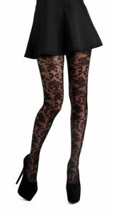 Silver Legs Baroque Lace Black Lacey Tulle Tights (Made In Italy)