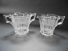 Vintage Heisey Creamer & Sugar Set Clear Glass Etched Deco Column's & Dot's