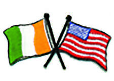 Irish Tricolour USA Flag Embroidered Sew-on Cloth Badge Patch Appliqué