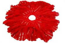 "Vintage 48"" Christmas Tree Skirt Hand Knit Red Table Cloth Cover"